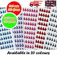 Tear Drop Decorative Diamante Crystal Sticky Rhinestone Gems 2 Sizes & 20 Colour