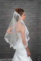 White/Ivory Wedding Veil One Layer Lace Applique Edge Bridal Veils With Comb++