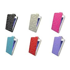 CASE FOR SONY XPERIA M2 GLITTER FLIP PU LEATHER IN VARIOUS COLORS POUCH COVER