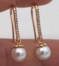 18K Gold Filled - Noble Full Topaz Zircon Gemstone Pearl Party Hook Earrings SW