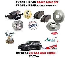FOR SUBARU IMPREZA 2.5 WRX EJ255 2007 > FRONT + REAR BRAKE DISCS SET + PADS KIT