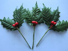 3 x MEDIUM ARTIFICIAL HOLLY LEAF SPRAYS 60mm x 25mm WITH BERRIES  ON WIRED STEMS