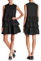 TOV Women's Sleeveless Tiered Ruffle Cotton Mini Shirt Dress Black Size 40 / M