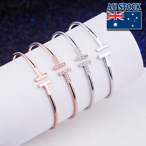 Fashion T Ended Bangle Bracelet Embedded CZ Stones 18K Rose Gold Plated