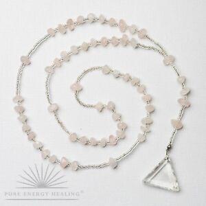 Rose Quartz Crystal Rosary Beads With Clear Quartz Crystal Triangle Casa Brazil