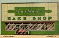 Aunt Jennies Bake Shop Rochester NY Vintage Postcard Women Bakers Bake Best