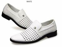 Mens Hollow out Breathable Slip on Flats Sandals Business New Dress Formal Shoes