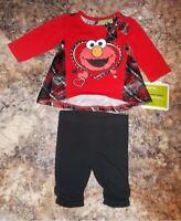 Sesame Street Elmo Girls 2-Piece Outfit Size 0-3 Months 3-6 Months OR 6-9 Months