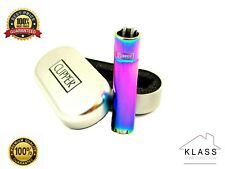 METAL PURPLE OIL RAINBOW CLIPPER LIGHTER WITH GIFT CASE TIN GENUINE OFFICIAL