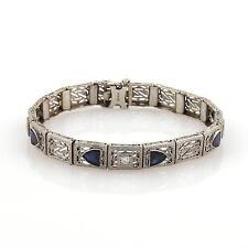 Art Deco Sapphire & Diamonds 14k White Gold Filigree Bracelet