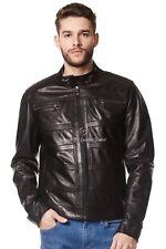 Para Hombre Chaqueta De Cuero Negro 100% Real Napa Moda Diseñador Estilo Motero 233