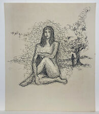 Felix Rodriguez Baez Felor, Mujer en el Bosque Puerto Rico Art 16x14, 1979 Sgned