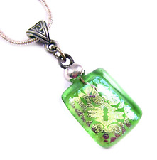 DICHROIC Glass PENDANT Gold Yellow Pattern Lime Green Celtic Silver Pewter Bail