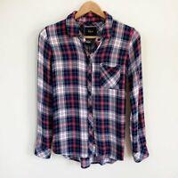 Rails Womens Hunter Plaid Flannel Button Down Shirt Long Sleeve Blue Red XS