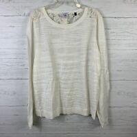 Cabi Women's Sophia Lace Back Sweater Style 5005 Ivory Long Sleeve Size M