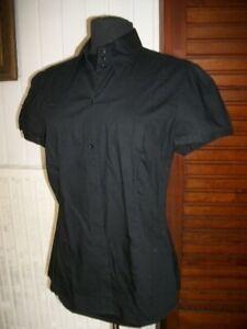 Chemisier cintré manche courte MEXX coton noir taille 42/44 imprimé dos