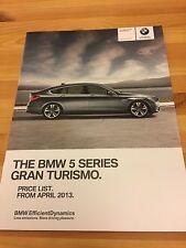 BMW 5 Series GT GRAN TURISMO, F07 UK Car Sales Price List Brochure, 2013