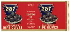 257 Brand, San Jose Olives, Keystone, ***AN ORIGINAL 1920's TIN CAN LABEL*** 191
