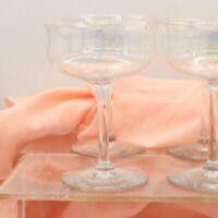 6 Crystal Optical 9-Panel Pedestal Stem 4 Oz. Glasses Vintage