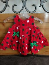 Rare Editions Girl's Red Corduroy Polka dot Jumper Dress Size 9 Months