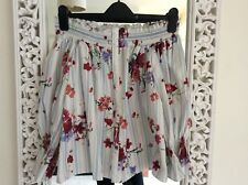 Zara Premium Denim Cotton Ivory Blue Floral Striped Bardot Top, UK Size 6-10 XS