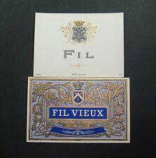 LOT 2 ETIQUETTES ANCIENNES FIL VIEUX JOUNEAU PARIS FRANCE OLD LABELS BOISSON