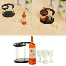 New Miniature Champagne Bottle Wine Rack Wine Glass For 1:12 Doll House Play Hot