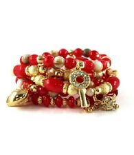 Red and Multi Colored Beaded Bracelet Set