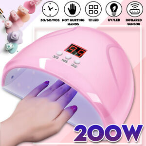200W LED Nail Dryer UV Lamp Gel Nail Polish Fast Curing Light Timer Sensor  !