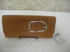 "NINE WEST ""BRISTO"" Checkbook Tan Faux Leather Clutch Wallet NWT Retail $39.00"