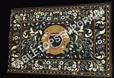4'x2' Black Marble Breakfast Dining Room Table Top Marquetry Inlaid Décor E940