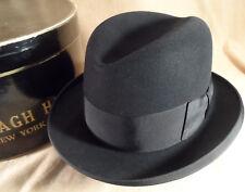 Vintage 1950's Cavanagh Black Homburg Fedora Hat w/ Box -- Sz 7 1/8 -- Mint!