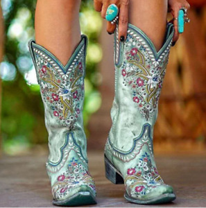 Retro Women Embroidery Mid-calf Boots Low Heel Pointed Toe Combat Riding Shoe Sz