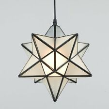"Moroccan Moravian Star 12"" Frosted Glass Pendant Foyer Kitchen Ceiling Light"
