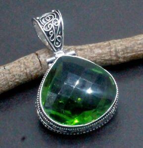 "925 Sterling Silver Green Peridot Gemstone Jewelry Vintage Pendant Size-1.80"""