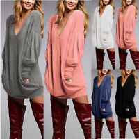 Women's Summer Casual Long Sleeve Solid Loose Tunic Top Shirt Blouse Dress Plus