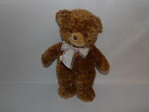 """2003 Princess Soft Toys 12"""" Plush Brown Bear w/ Pastel Ribbon (*90)"""