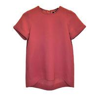 Madewell Womens Short Sleeve Blouse Sz XS Burgundy / Red Career Top Business