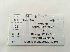 Chris Sale Win #10 15 Strikeouts May 28 2012 5/28/12 Rays White Sox Ticket Stub