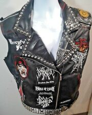Battle Jacket, Black Metal, S-XL Sized to fit, black vinyl, leather, studs,death