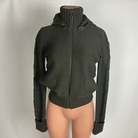 JOSEPH Italy Womens Crop Bomber Sweater Jacket Gray/Green Leather Hood Size S