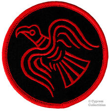 RED NORWAY VIKING ODIN'S RAVEN BANNER embroidered iron-on PATCH FLAG THOR BLACK