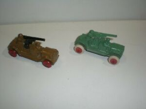 two military cannon vehicles Barclay slush mold cast iron Army variation colors