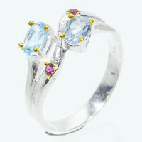 Fineart Jewelry Ring! Natural 6x4 Blue Topaz 925 Sterling Silver Ring / RVS88