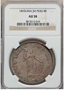 1825 JM Peru 8 reales Lima silver republican bolivar NGC AU58 FIRST COIN of PERU
