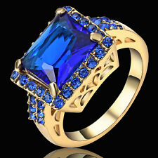 Size 9 Marquis Cut Blue Sapphire Wedding Ring yellow Gold Rhodium Plated Women's