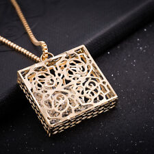 18k 18CT Yellow Gold Plated GP Filigree Square Pendant Chain Necklace N497