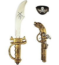 Pirate Fancy Dress 3 Piece Set Cutlass, Pistol, Eyepatch Pirate Gun Kit