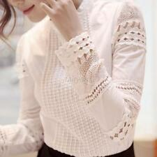 Women Vouge Embroidery Lace Crochet Cotton Tops Long Sleeve Shirt Casual Blouse