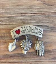 I Love Gardening Love Metal & Red Enamel Danecraft Lapel Pin Pinback Brooch